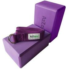 A2ZCare Yoga Blocks Set of 2 and Strap With D-ring – Foam Block 9x6x4 Inch Props