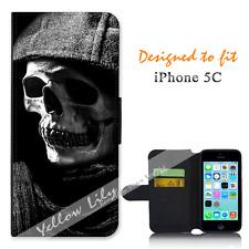 For Apple iPhone 5C Wallet Flip Phone Case Cover Skull Halloween Y00757