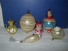 Lot of 6 Antique Glass Christmas Ornaments Swan, Tea Pot, Santa