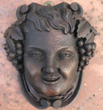 "Antique Walnut Carving Of A Face W/Grapes 7"" X 6 1/4"""