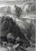 Greece DELPHI TEMPLE APOLLO MOUNT PARNASSUS WATERFALL ~ 1829 Art Print Engraving
