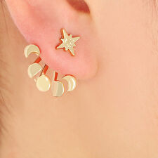 Gold Plated Celestial Moon Star Astral Ear Jackets Cuff Earrings Star Studs