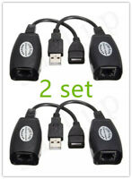 2X USB Extension Ethernet RJ45 Cat5e/6 Cable Adapter Extender Over Repeater Set