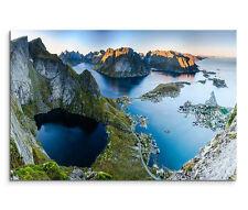 120x80cm Leinwandbild auf Keilrahmen Sonnenuntergang Lofoten Norwegen