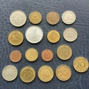 SET OF 17 COINS FROM GERMANY 1950 1 DEUTSCHE MARK 1892 10 PFENNIG AND MORE