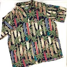 Reyn Spooner Mens Hawaiian Shirt Camp Surf Boards Palm Trees Size XXXL 3X