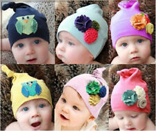 Infant/Toddler Top Knot Cap Knit Beanie Hat With Flower