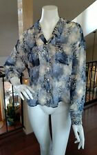 FREE PEOPLE Sheer Blue & Beige Blouse Roll Sleeve Hi Low Hem Tunic Top NWOT S/P
