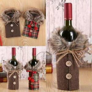 2 Fancy Santa Claus Outfit Christmas Wine Bottle Bag Cover Xmas Decoration GIFT