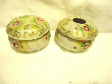 VERY FINE NIPPON PORCELAIN DRESSER SET/HAIR RECEIVER & TRINKET BOX..FLORAL