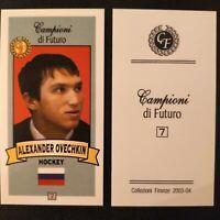 "ALEXANDER OVECHKIN 2003-04 CAMPIONI DI FUTURO ""RED"" MINI ROOKIE CARD RC"