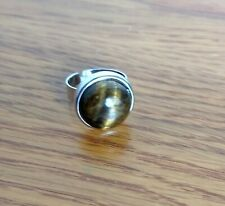 Adjustable Ring Tigers Eye Silver Plated Steel & Pewter