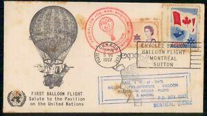 Mayfairstamps Canada Flight 1967 1st Balloon Flight Montreal UN Pavilion Balloon