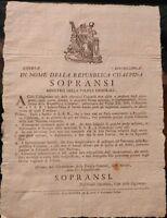 1798 MILANO PROCLAMA REPUBBLICA CISALPINA SU COCCARDE DELL'INFANTE DUCA DI PARMA