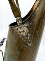 """Umbrella Stand/Fireplace Coal Scuttle Ash Bucket Brass 17""""T  Holland Lion Head"""