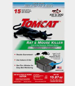New! Tomcat RAT & MOUSE KILLER Small Refillable 15 Bait Station Mice/Rat 0370910