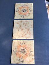 DÄNISCHBURG Vintage Beige Tiles Made In Germany 🇩🇪 Floral Design