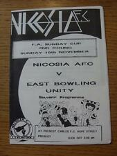 10/11/1991 At Prescot Cables: Nicosia v Eats Bowling Unity [FA Sunday Cup] (Rust