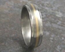 Titanium & 14K Yellow Gold Inlay Mens Wedding Band Ring Custom Made to ANY Size