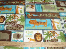 Fleece Fabric~ Artists of Kolea in the jungle Tiger, Lion, Monkey, Hipo, Rino +