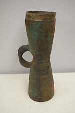 Papua New Guinea Musical Drum April River Etched Wood Leaf Green Red