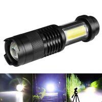 10000LM XPE Q5 COB LED Mini Flashlight 14500/AA 4Modes Zoomable Pocket Torch