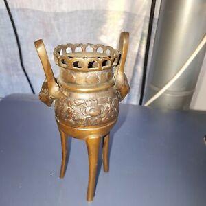 ancien Brule Parfum  en Bronze Chinois téte de Taotie