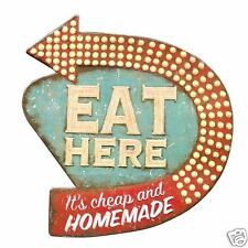 "Eat Here Retro Wall Kitchen Décor, 15""L x 16""H, Die-Cut Metal Diner Sign, New!"