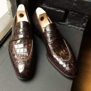 Handmade Mens Alligators Shoes, Men crocodile Patterned dress shoes moccasins