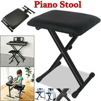 Folding Piano Keyboard Bench Padded Stool X Seat Chair Adjustable 3Level Height