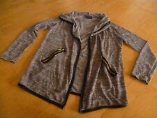 Sommer Cardigan Strickjacke Jacke Gr.L braun meliert großer Umschlagkragen