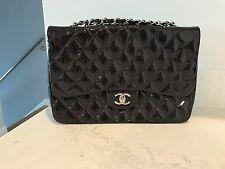 Authentic Rare Chanel Classic Patent Caviar Jumbo Handbag Purse In Dark Purple