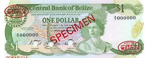 Belize  $1  1.11.1983  P 46as  Series A/7  Specimen # 18  Uncirculated Banknote