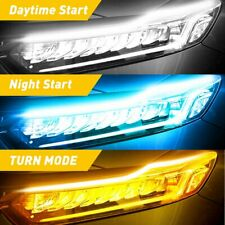 Sequential Turn Signal Light Strip for Auto Motorcycle LED DRL Amber/Blue/White