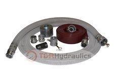"3"" Flex Water Suction Hose Trash Pump Honda Complete Kit w/75' Red Disc"