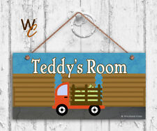 Farm Truck Sign, Personalized Kids Door Sign, Kids Name, Boy's Room, 5x10 Sign