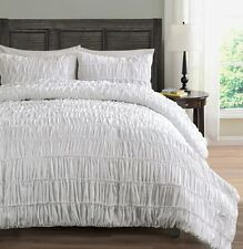 Wht Pinch Pleat Bed Cover Ruched Bedding 3-Piece Comforter Set- Queen |US seller