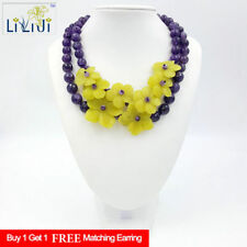 Natural Amethyst New Jade Flowers Stone Toggle Clasp Necklace Fashion Necklace