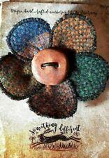 rainbow brooch pin - handwoven wool irish tweed winter jacket hat coat pin OOAK