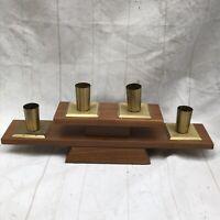 Mid Century Modern Danish Wood Brass Candelabra Candle Holder Rothschild