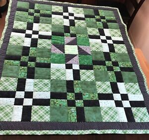 Patchwork Quilt handmade lap size w/ green and black cotton fabrics