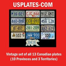 FULL SET 13 VINTAGE CANADIAN LICENSE PLATES LOT TAG NUNAVUT AND NWT BEAR CANADA
