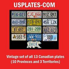 FULL SET 13 VINTAGE CANADIAN LICENSE PLATES LOT TAG NWT & NUNAVUT BEAR CANADA