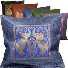 Kissenhülle Kissen 40 x 40 cm Orient Dekokissen Brokat  Elefanten Indien gold