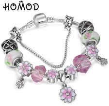 European Silver Emerald Glass Beads Ball Charm Pink Bracelet Crystal Gift Box BN