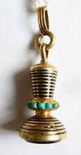 Pendentif sceau cachet en OR + émail + turquoise + onyx  bijou ancien seal