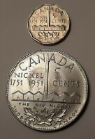 1951 Canada 5 Cents (Sudbury Refinery) Coin (100% Nickel) and The Big Nickel