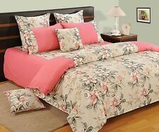 Swayam Pink and Cream Colour Floral Print Extra Large Double Bed Sheet