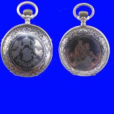 Glashutte Silver & Niello Angels & St. George & Dragon Hunter Pocket Watch 1910