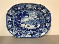 Very Rare Historical Blue Staffordshire Meat Platter Windsor Castle 19""
